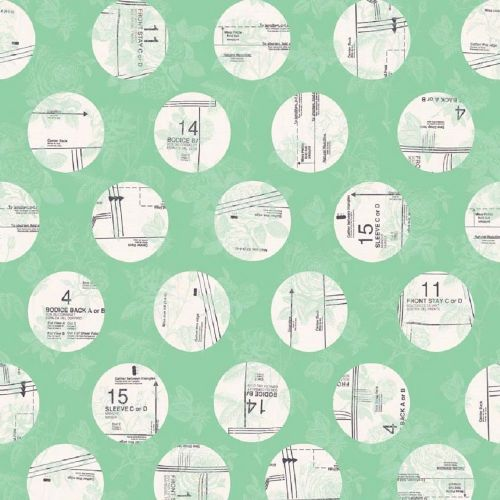 Riley Blake - Sew Charming Circles (Mint) Fabric